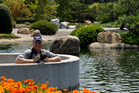 Mike Dodd in the middle of the artificial lake at the Japanese Garden